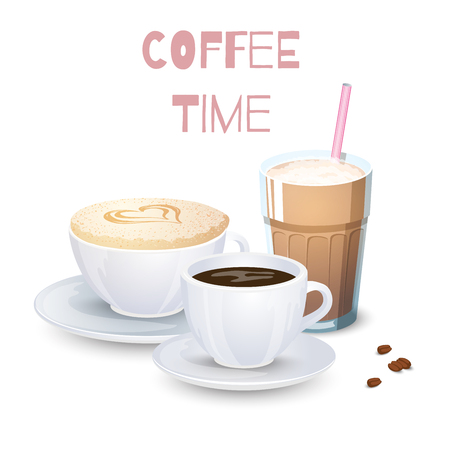 Set of Coffee drinks on a white background