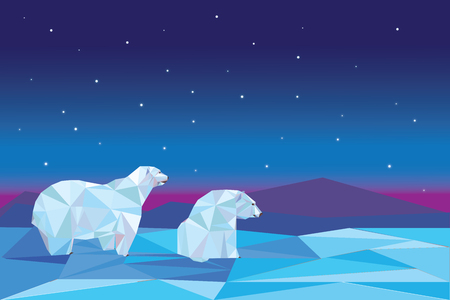 Low poly polar bears sitting on ice and looking each other.