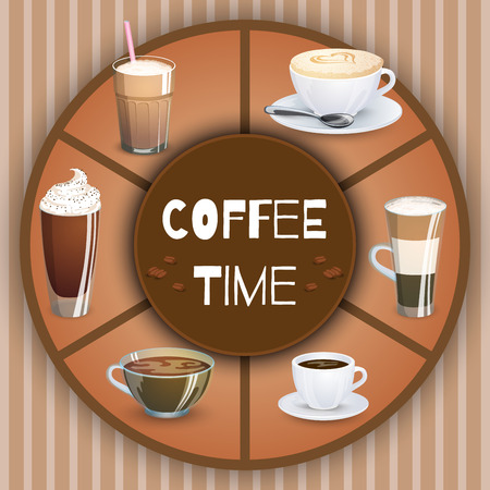 raisin: Illustration with coffee drinks. Decorative elements and background for your design. Hot drinks set. Cafe theme icons, can be used in menu.