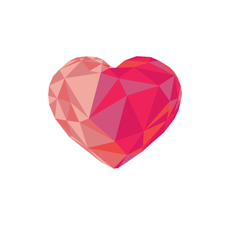 Low poly red crystal bright heart. Good for Valentine s day, gifts, packs, wallpaper, invitations. Illustration