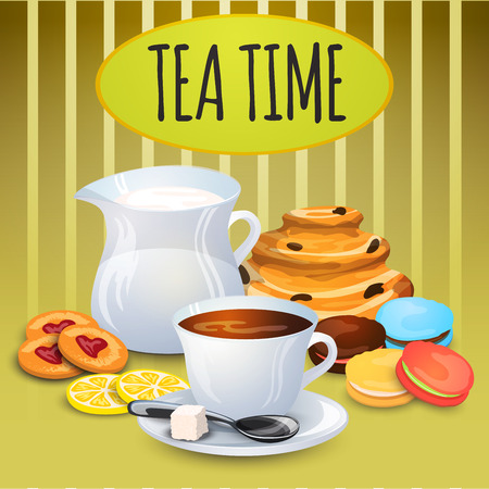 decanter: Illustration collection tea with milk pot and sweets for bakery decoration