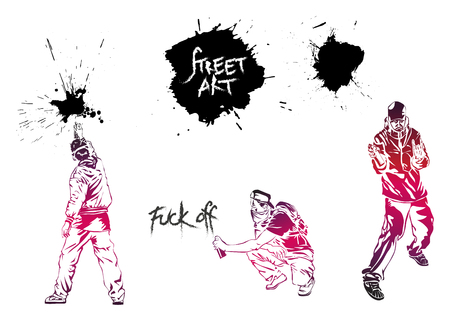 Set graffiti art. Artists, signs and splashes. Collection street art elements.