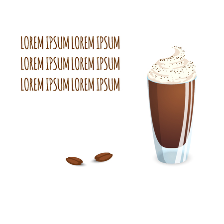 Transparent glass cup with coffee drink and beans on a white background Illustration