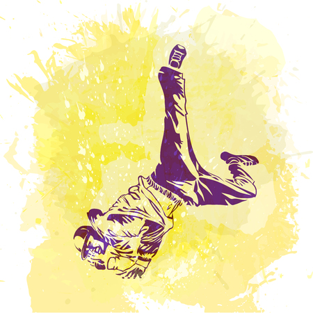 Break dance dancer on handcrafted splashes background, modern trend background. Illustration