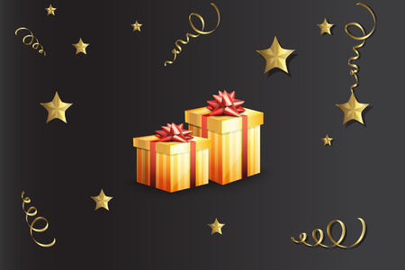 Illustration of a gift boxes on a black background