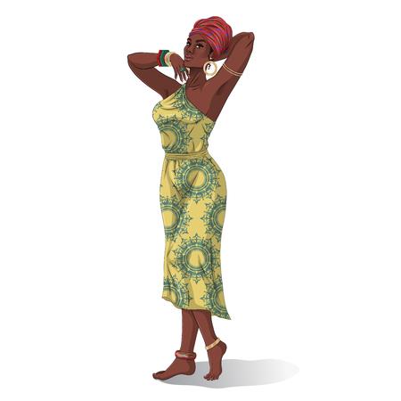 Modelos de belleza africanos aislados en blanco. Ilustración vectorial
