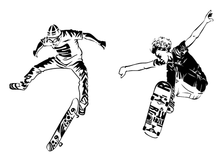 Skateboarders on white background. Extreme theme modern print. Vector design elements. Isolated on white Illustration