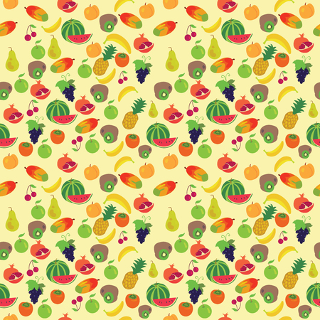 Fruit pattern on a yellow background. Different kind of fruits