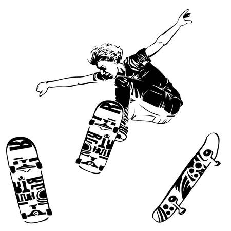 Skateboarder jumping on white background. Skates and skateboards icon. Extreme theme modern print. Vector design elements. Isolated on white Illustration