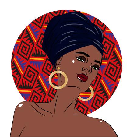 African american black beauty woman portrait. Vector illustration