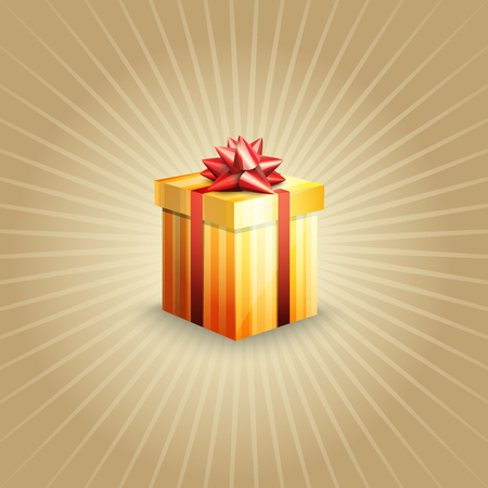 Illustration of a gift box on a light-brown background Illustration