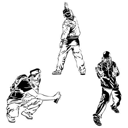 Establecer el arte del graffiti Artistas, signos y salpicaduras. Colección de elementos de arte callejero. Vectores
