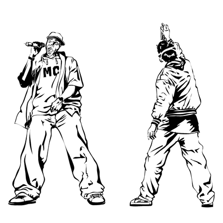 Raper and graffiti guy on white background. Extreme theme modern print. Illustration