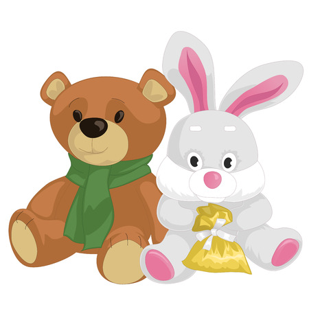 Cute toy teddy bear and rabbit isolated on white