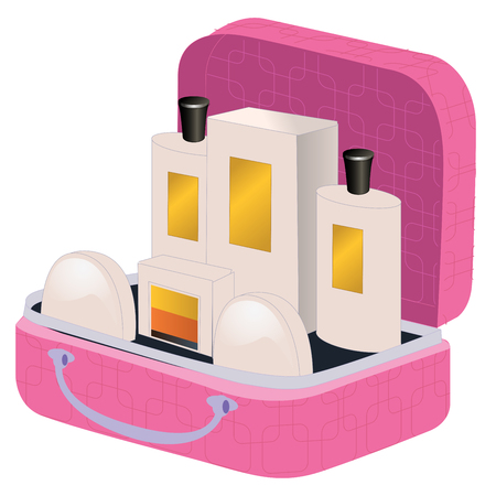 valise: Pink suitcase with perfume and cosmetics inside isolated on white
