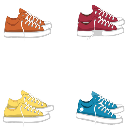 snickers: Fashionable woman s shoes snickers. Vector design elements isolated on white