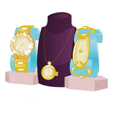 busts: Busts and Jewelry and a gold watch isolated on a white background.
