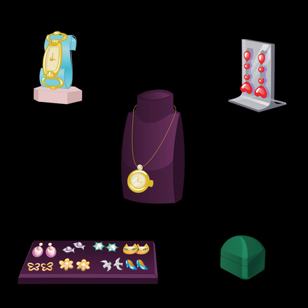 Set of Stand Showcase with various jewelry isolated on black. Vector illustration. Ilustração