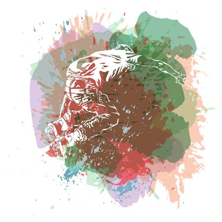 Roller skating. Grunge trend handcrafted splash background. Good for print, web, flayer design. Illustration