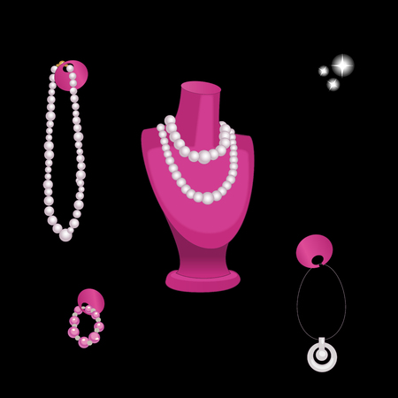 Stand Showcase with various jewelry isolated on black. Vector illustration.