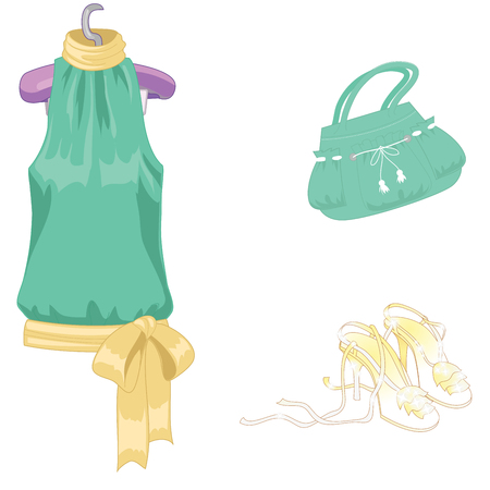 Set of lady s accessories, icons. Isolated objects. Vector illustration