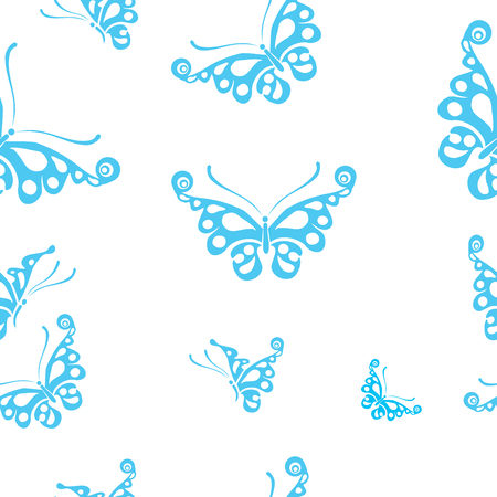 springtime: Butterflies silhouettes isolated on white background. Easy to edit, individual objects. Seamless pattern. Seamless pattern