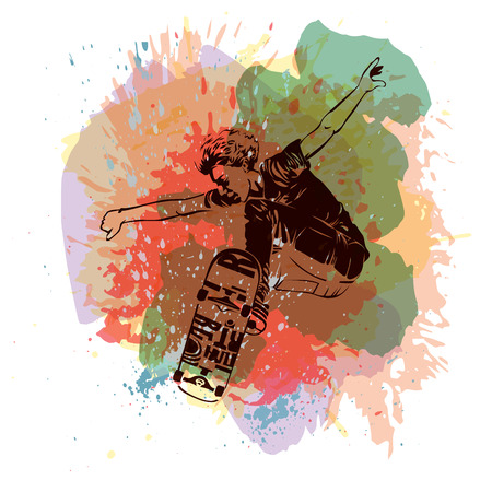 Skateboarder jumping on paint spot with splash in watercolour style background. Skates and skateboards icon. Extreme theme modern print. Vector design elements. Illustration