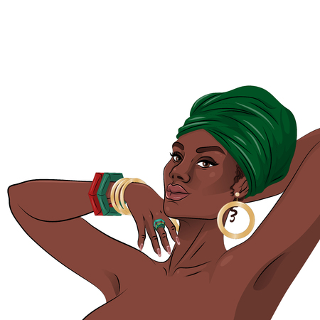 African american black beauty woman portrait. Vector illustration