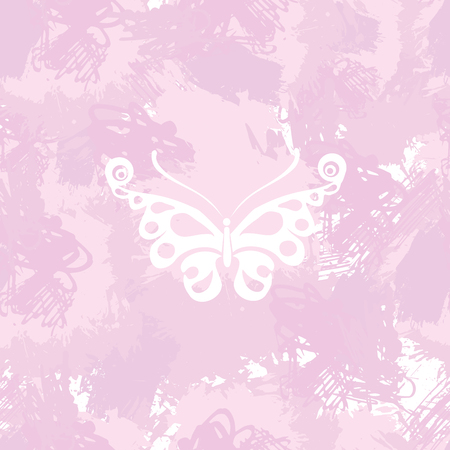 springtime: Butterflies silhouette on a abstract watercolor spot background. Splash texture background. Trendy soft colors. Handcrafted texture