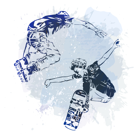 Skateboarder and roller jumping on paint spot with splash in watercolour style background. Skates and skateboards icon. Extreme theme modern print. Vector illustration.