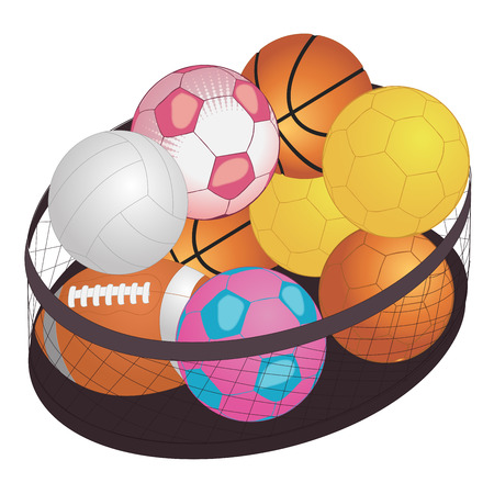 shuttlecock: Different game balls In the big basket isolated on white. Vector illustration