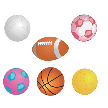 Different game balls In the big basket isolated on white. Vector illustration