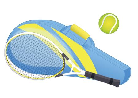 Tennis racket, tennis ball, sport equipment, racket cover. isolated on white. Vector illustration