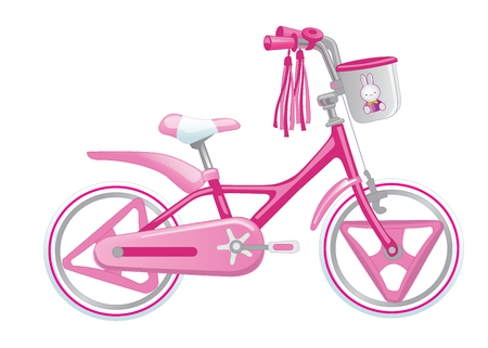 treadle: Cute kids bicycle for a girl vector illustration isolated