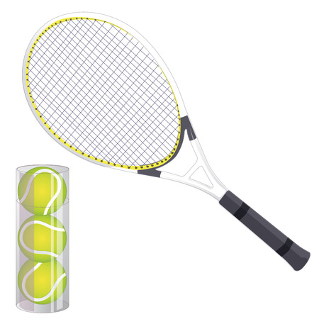 Vector set of tennis rackets and tennis balls. Isolated Illustration