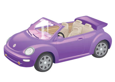 tuned: Detailed purple convertible car cartoon isolated on white background. Vector Illustration