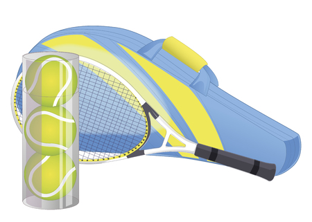 Tennis racket, tennis ball, sport equipment, racket cover. isolated on white. Vector