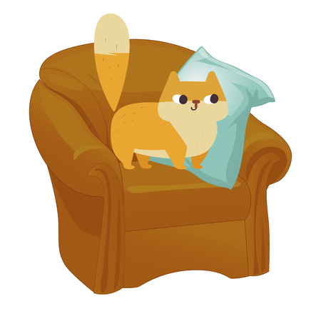 Ginger cat vector. Funny plump cat in the big armchair