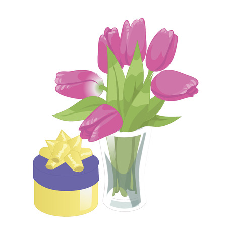 springtime: Flower vase and a box with a gift. Flower vase isolated icon on white background. Vase of flowers. Pink tulips. Flat style vector illustration.