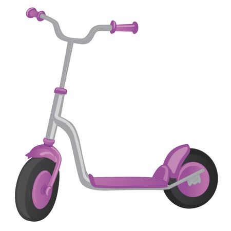Vector roller scooter. Balance bike. Cartoon cute color kick scooter for design or web pages, posters. Push scooter isolated on white background. Eco transport for kids Illustration