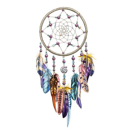 Hand drawn ornate Dreamcatcher with feathers, gemstones. Astrology, spirituality, magic symbol. Ethnic tribal element.