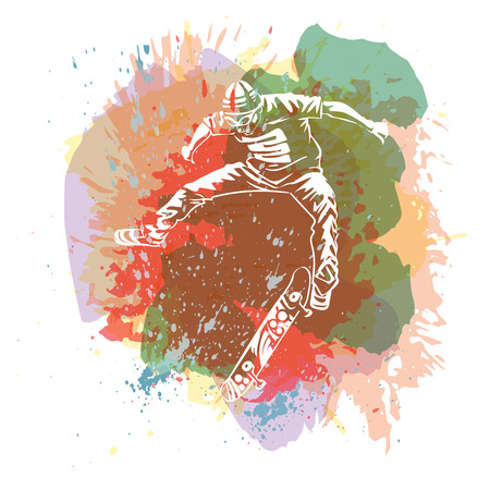 Skateboarder jumping on paint spot with splash in watercolour style background. Skates and skateboards icon. Extreme theme print. Vector Illustration