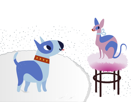 Cat and Dog characters best happy friends. Bull terrier and sphinx. Vector flat cartoon illustration isolated on white. Illustration
