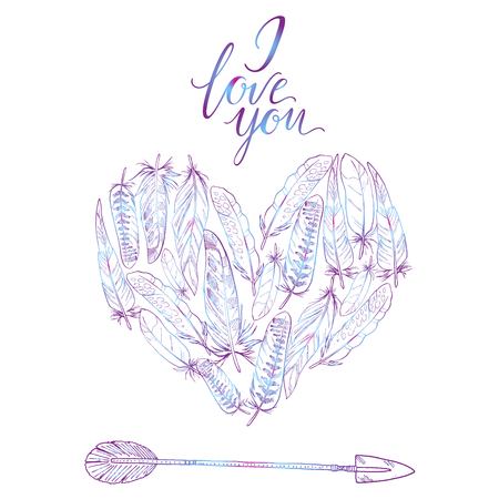 quills: Boho elements. Vector illustration Heart of feathers and arrow. Ornamental bird feathers isolated