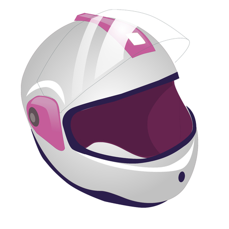 whitw: Whitw and pink motorcycle helmet icon. illustration of motorbike or motorcycle helmet vector icon for web. Isolated on white