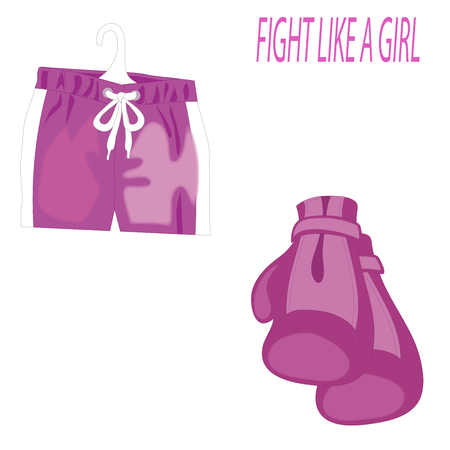 International Womens Day. Pink boxing gloves and sports shorts isolated on white . 8 March