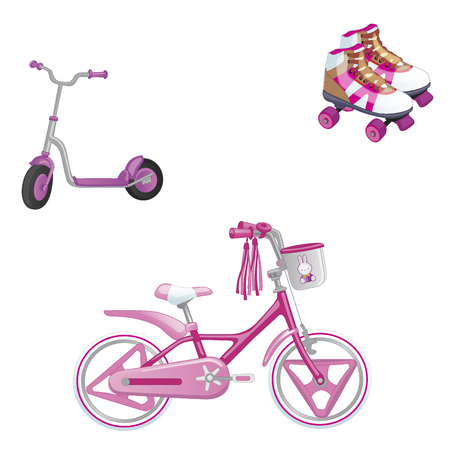 Set of children's transport. Eco transport for kids. Cute kids bicycle, roller skating and roller scooter for a girl. Vector illustration isolated on white