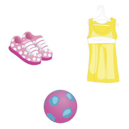 Summer beach, sea clothes, dress icons and a ball for baby girl. Vector illustration. Isolated on white Illustration