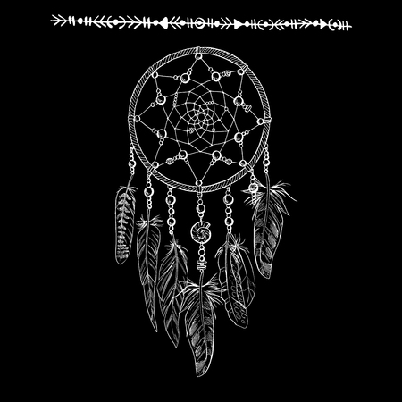 Hand drawn ornate white Dreamcatchers with feathers, gemstones isolated on a black background. Astrology, spirituality, magic symbol. Ethnic tribal element. Vector