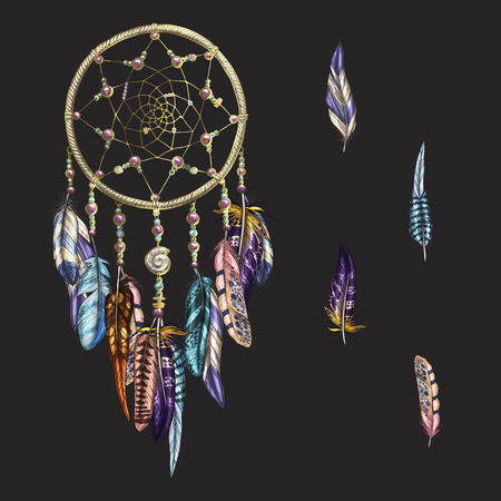 Luxury ornate Dreamcatcher with feathers and gemstones isolated on a black background. Astrology, spirituality, magic symbol. Ethnic tribal element. Vector Иллюстрация